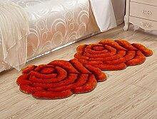 3D Blume Shaggy Teppich Matten für Zuhause Wohnzimmer Floral Rose Dicke Runde Teppiche, orange, 90x160cm