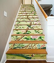 "3D Blumen Und Vögel 01 Stair Risers Dekoration Fototapete Vinyl Aufkleber Tapete DE Carly (13x H:18cm x W:94cm (7""x37""))"