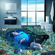 3D Boden Aufkleber Bad 3D Delphin Unterwasser Para