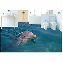 3D Boden Malerei Tapete Meer Delphin Bad 3D Boden