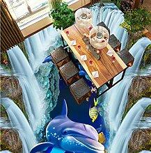 3d Bodenbelag Wasserfall Unterwasserwelt Delphin