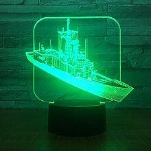 3D Boot Schiff Optische Illusions Lampe 7 Farben