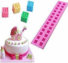 3D Buchstabe Blocks Silikon Fondant Schokolade Kuchen Form Dekorieren Werkzeuge