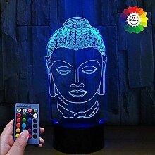 3D Buddha Statuen Lampe USB Power 7/16 Farben