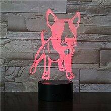 3D Bullterrier Form Design LED Strahler Hund Welpe