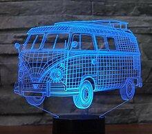 3D Bus Auto Optische Illusions Lampe 7 Farben