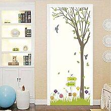 3D Cartoon Baum Blumen Tür Aufkleber Wandbild