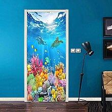 3D Cartoon Unterwasser Tür Aufkleber Kinder