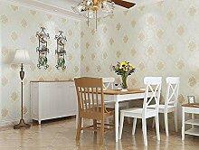 3D Continental fein Geprägte Tapete Schlafzimmer Tapete adhesive-bonded Reinigungstuch Tapete Wohnzimmer Wohnzimmer TV Hintergrund Wand Papier, Only the wallpaper, M white