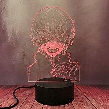 3D Cool Boy Kaneki Ken Nachtlicht LED Optische