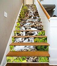 "3D Creek Natur Landschaft 4 Stair Risers Dekoration Fototapete Vinyl Aufkleber Tapete DE Carly (15x H:18cm x W:102cm (7""x40""))"
