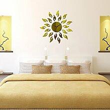 3D-dekorative Spiegel Wanduhren romantische Wandaufklebern Schlafzimmer Einrichtung Wohnzimmer Wand Aufkleber Removable Vinyl Aufkleber Kunst Wandbilder, Gold