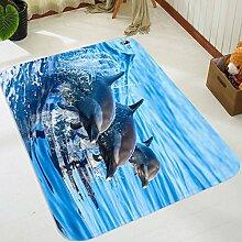 3D Delphin Ozean 104 Rutschfest Teppich Matte Raum