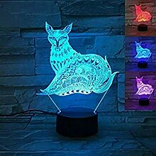 3D Der Fuchs Optische Illusions Lampe 7 Farben