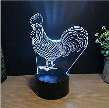 3D Der Hahn Optische Illusions Lampe 7 Farben