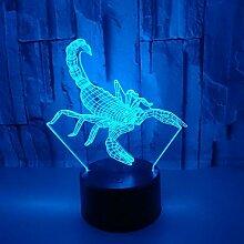 3D Der Skorpion Optische Illusions Lampe 7 Farben