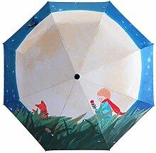 3D Digitaldruck 3 Faltender Sonnenschirm Sonnenschutz Anti-UV Regenschirm,PhotoColor-Freesize