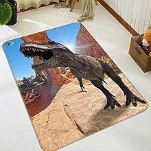 3D Dinosaurier Berge Felsen 374 Rutschfest Teppich