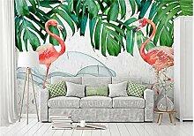 3D Diy Fototapete Tapete Pflanze Flamingo Für