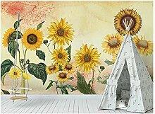 3D Diy Fototapete Tapeten Vintage Sonnenblume Für