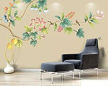 3D Diy Tapete Fototapete Rosa Blumen Und Vögel