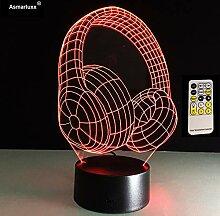 3d dj kopfhörer form illusion lampe studio musik