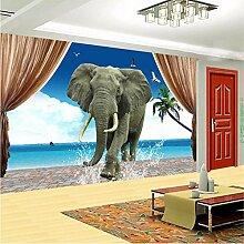 3D Dreidimensionale Seeelefanten Baden Tapete