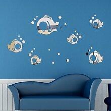 3d Dreidimensionaler Fisch Kinderzimmer Acryl Kristall Dreidimensionale Spiegel Wandaufkleber,Silver-Small