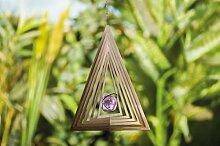 3D Edelstahl Windspiel Dreieck mit Echtglaskugel Gartendeko Gartendekoration