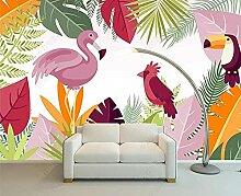 3D Effekt Tapete Flamingo-Pflanze Vliestapete