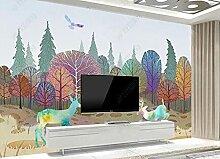 3D Effekt Tapete Hand Gezeichneter Baum