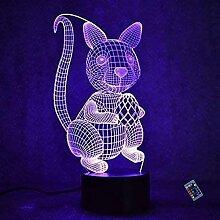 3D Eichhörnchen Nacht Licht 16 Farben Andern Sich