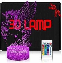 3D Einhorn Lampe LED Nachtlicht mit Fernbedienung,