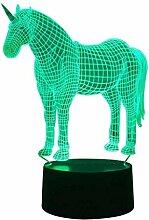 3D Einhorn Lampe USB Power 7 Farben Amazing
