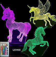 3D Einhorn Nachtlicht – 3D Einhorn Lampe drei