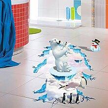 3D Eisbär Pinguin Boden Aufkleber Weihnachten