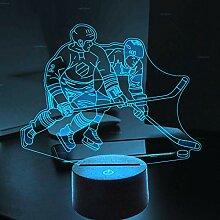 3D Eishockey Spieler Optische Illusions Lampe 7