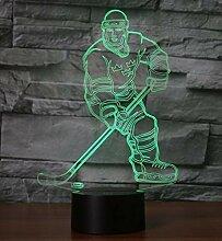 3D Eishockey Touch 7-Farben Tischlampe LED