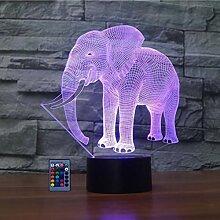 3D Elefant Lampe Nachtlicht Fernbedienung USB