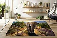 3D Elefanten 213 Rutschfest Teppich Matte Raum