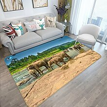 3D Elefanten 218 Rutschfest Teppich Matte Raum