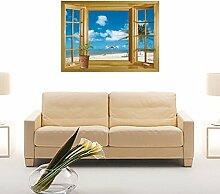 3D Fake Fenster Strand Szene Wand Aufkleber PVC Home Aufkleber House Vinyl Papier Dekoration Tapete Wohnzimmer Schlafzimmer Küche Kunst Bild DIY Wandmalereien Mädchen Jungen Baby Kinderzimmer Spielzimmer Decor