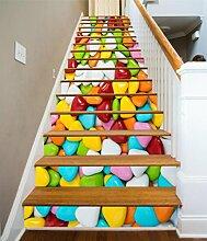 """3D Farbe Süßigkeiten Essen 4 Stair Risers Dekoration Fototapete Vinyl Aufkleber Tapete DE Carly (13x H:18cm x W:94cm (7""""x37""""))"""