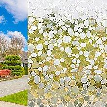 3D Fenster Film Statische Milchglas Glas Static Cling Ohne Kleber Leimfrei Fenster Aufkleber Blickdicht Löwenzahn Kieselsteine Blumen-Entwurf Dekorfolie Wiederverwendbare Sichtschutzfolie Selbstklebend Window Film blockiert UV Sonnenschutzfolie (Kieselsteine)