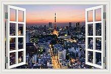 3D-Fenster Landschaft moderne Stadt berühmte