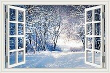 "3D-Fenster Scenery Wandtattoo Snow Road Winter Forest Landschaft Tapete Vinyl Aufkleber, W0607, 24""""X36"