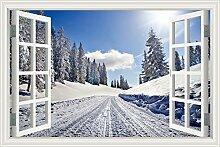 "3D-Fenster Scenery Wandtattoo Snow Road Winter Forest Landschaft Tapete Vinyl Aufkleber, W0601, 24""""X36"