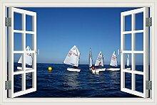 "3D-Fenster Scenery Wandtattoo weiß Segelboot Seascape Tapete Vinyl Aufkleber, W0014, 28""""X40"