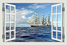 "3D-Fenster Scenery Wandtattoo weiß Segelboot Seascape Tapete Vinyl Aufkleber, W0016, 32""""X48"