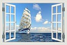 "3D-Fenster Scenery Wandtattoo weiß Segelboot Seascape Tapete Vinyl Aufkleber, W0015, 32""""X48"